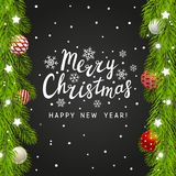 Christmas tree branches border on chalkboard. Background Royalty Free Stock Images