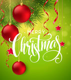 Christmas Tree Branches Border with handwriting Lettering. Vector Illustration Royalty Free Stock Photos