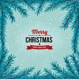 Christmas tree branches border on the light blue background with falling snow. Border with Christmas tree branches. Winter holiday background with snow and Royalty Free Stock Photography