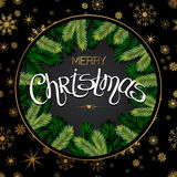 Christmas Tree Branches Border. Merry Christmas lettering. Vector Stock Photography