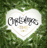 Christmas Tree Branches Border. Merry Christmas lettering. Vector Royalty Free Stock Photos