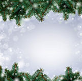 Christmas tree branches border over white background (with sampl Stock Photography