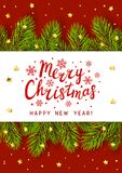 Christmas tree branches border. With place for Your text Royalty Free Stock Image