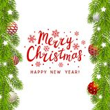 Christmas tree branches border. With place for Your text Stock Photos