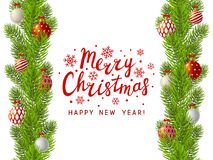 Christmas tree branches border. With place for Your text Stock Images