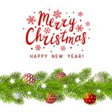 Christmas tree branches border. With place for Your text Royalty Free Stock Photo