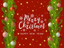 Christmas tree branches border on red. Background Stock Photos