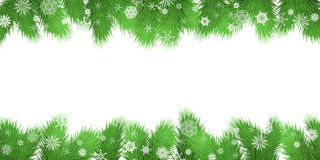 Christmas tree branches border. Vector Illustration. Royalty Free Stock Images