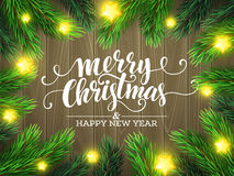 Christmas Tree Branches Border. Vector Royalty Free Stock Photography