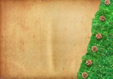 Christmas Tree Branches Bordering a ancient paper Royalty Free Stock Images