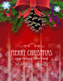 Christmas tree branches with bow and ribbons Royalty Free Stock Images