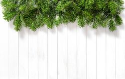 Christmas tree branches bright wooden texture. Christmas tree branches on bright wooden texture. Winter holidays background royalty free stock photos