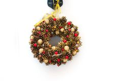 Christmas tree branches in a circle with Christmas toys Royalty Free Stock Image