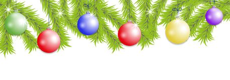 Christmas tree branches with colorful balls. New year baubles decoration banner. Vector. Illustration Stock Photography