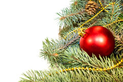 Christmas tree branches with cones, gifts and toys on a white ba Royalty Free Stock Photos