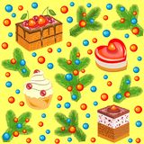 Christmas tree branches decorated with bright balls and sweet cakes. Seamless pattern. Suitable for packing holiday gifts. Creates royalty free illustration