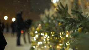 Christmas tree branches decorated with Christmas toys. stock footage