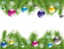 Christmas tree branches with decoration Stock Images