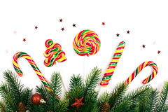 Christmas tree branches. With decoration and candy royalty free stock images