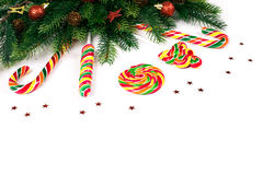 Christmas tree branches. With decoration and candy royalty free stock image