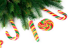 Christmas tree branches. With decoration and candy royalty free stock photography