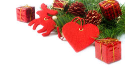 Christmas tree branches and decorations isolated stock photo