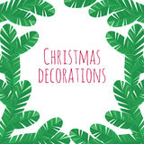 Christmas tree branches decorative frame Stock Images