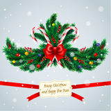 Christmas tree branches with frame Royalty Free Stock Image
