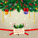 Christmas tree branches with frame Stock Images