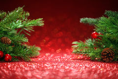 Christmas tree branches on glittering red Royalty Free Stock Photo