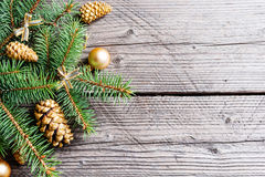 Christmas tree branches with golden balls and fir-cone Stock Photos
