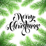 Christmas tree branches. Greeting card Stock Photos