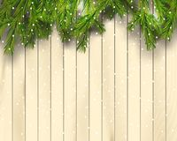 Christmas tree branches on light wooden background, vector illustration. Top view. Realistic fir-tree border, frame Royalty Free Stock Photos