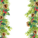 Christmas tree branches, mistletoe.  seamless frame. Watercolor Royalty Free Stock Images