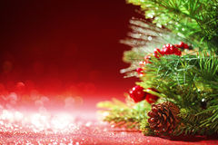 Christmas tree branches on red background Royalty Free Stock Photo