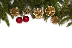 Christmas tree branches with red baubles and gold cones on white background. royalty free stock photo