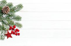 Christmas tree branches red decoration Winter background. Christmas tree branches with red decoration. Winter holidays background royalty free stock image