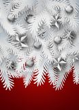 Christmas tree branches on red. Realistic white paper art cut out pine, fir, spruce Christmas tree branches decorated balls and stars on red background. Vintage Royalty Free Stock Photos