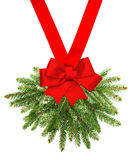 Christmas tree branches with red ribbon bow Royalty Free Stock Photography