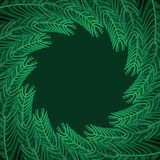 Christmas tree branches round Frame. Xmas Background branch of p royalty free illustration