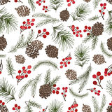 Christmas tree branches seamless pattern.Cone,berries. Christmas tree green branches,pine cone ,red berries in seamless pattern background.Fir,spruce design Stock Photo