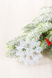 Christmas tree branches with snow flake Royalty Free Stock Images
