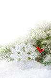 Christmas tree branches with snow flake Stock Image