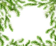 Christmas tree branches and space for text. Realistic fir-tree border, frame isolated on white. Great for christmas cards, banners, flyers, party posters Stock Images
