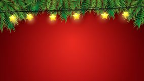 Christmas tree branches and stars lights over red background. Illustration vector royalty free illustration