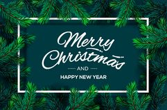 Christmas Tree Branches template. Merry Christmas and Happy New Year lettering with border frame, illustration. Christmas Tree Branches template. Merry Christmas royalty free illustration