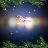 Christmas tree branches 02 A. Vector illustration of christmas tree branches on a dark night bokeh background with blurred lights. Beautiful decorative backdrop Royalty Free Stock Image