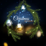 Christmas tree branches 02 A. Vector illustration of christmas tree branches with silver balls on dark night bokeh background with blurred lights. Beautiful Stock Photos