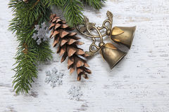 Christmas tree branches vintage decoration Stock Images