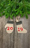 Christmas tree branches decoration New Year 2019. Christmas tree branches with vintage decoration on wooden background. New Year 2019 Stock Photography